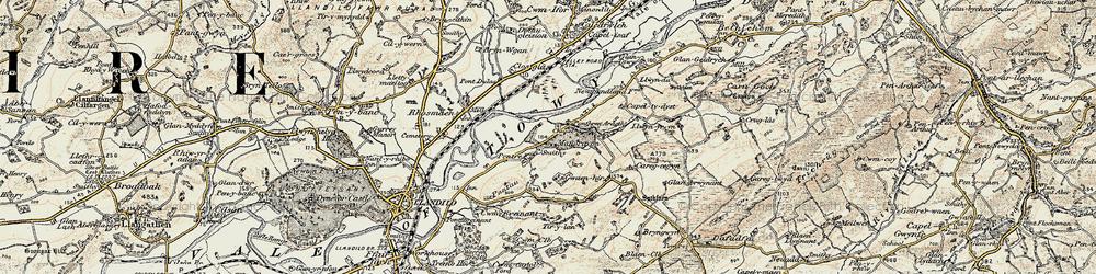 Old map of Tir-y-lan in 1900-1901