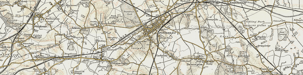 Old map of Pontefract in 1903