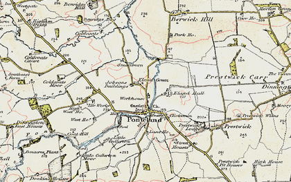 Old map of Ponteland in 1901-1903