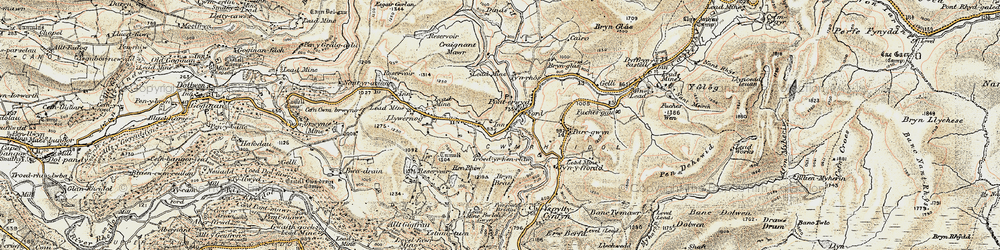Old map of Ponterwyd in 1901-1903