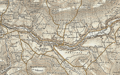 Old map of Afon Gwaum in 1901-1912