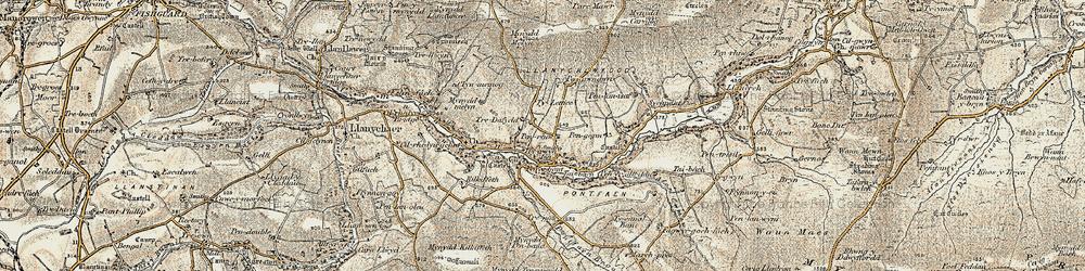 Old map of Afon Gwaum in 1901-1912