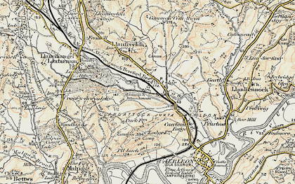 Old map of Ponthir in 1899-1900