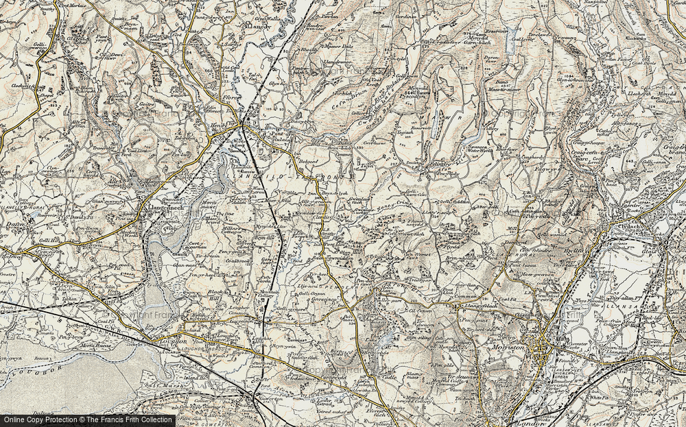Old Map of Pontlliw, 1900-1901 in 1900-1901