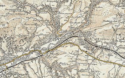 Old map of Pontneddfechan in 1900