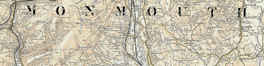 Old map of Pontnewydd in 1899-1900