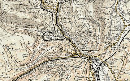 Old map of Pontnewynydd in 1899-1900