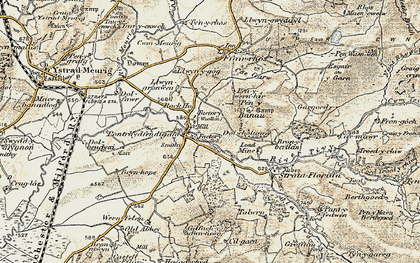 Old map of Pontrhydfendigaid in 1901-1903