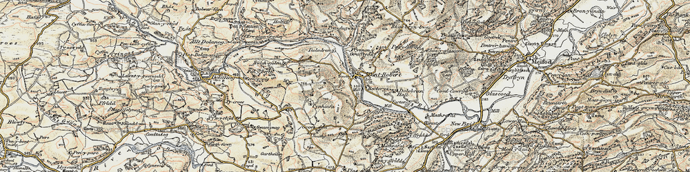 Old map of Pontrobert in 1902-1903