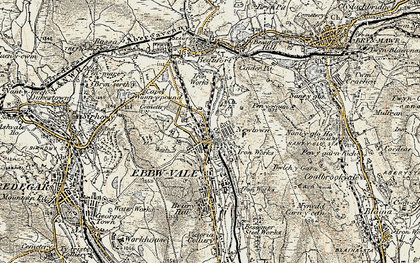 Old map of Pontygof in 1899-1900