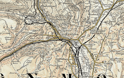 Old map of Pontypool in 1899-1900