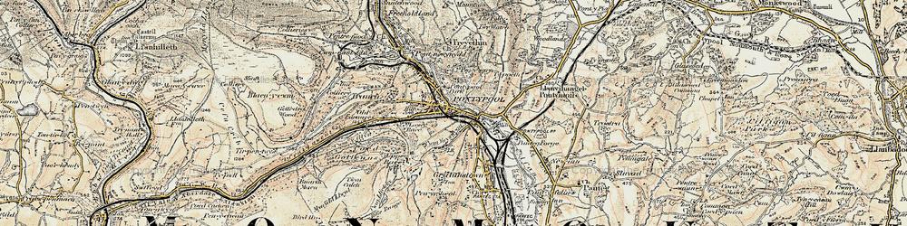 Old map of Pontypool in 1899-1900