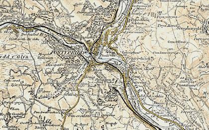 Old map of Pontypridd in 1899-1900