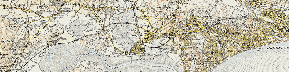 Old map of Poole in 1899-1909