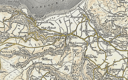 Old map of Porlock in 1900