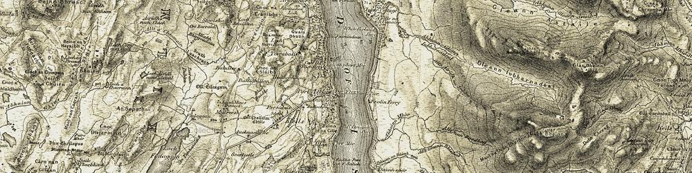 Old map of Abhainn Gleann Lubharnadail in 1905-1907