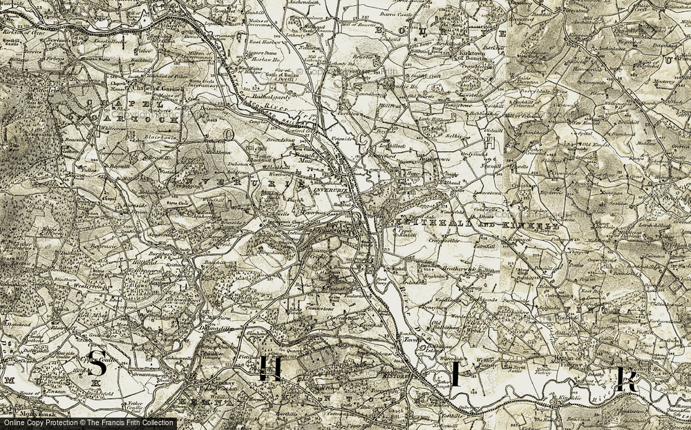 Old Map of Historic Map covering Backhill of Davah in 1909-1910