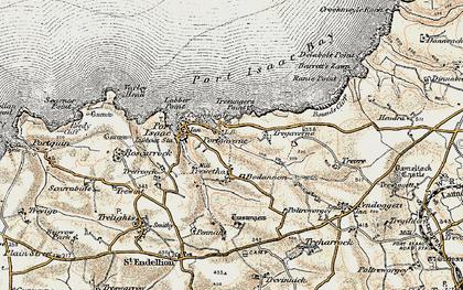 Old map of Port Gaverne in 1900