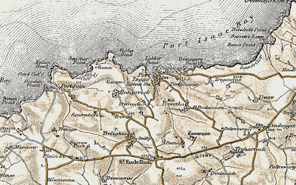 Old map of Port Isaac in 1900