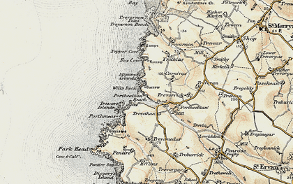 Old map of Porthcothan Bay in 1900