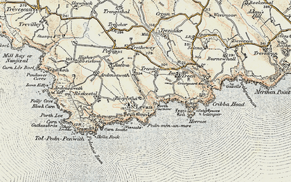 Old map of Porthcurno in 1900