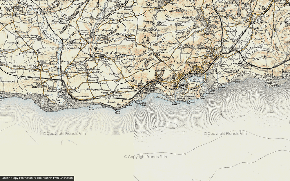 Old Map of Porthkerry, 1899-1900 in 1899-1900