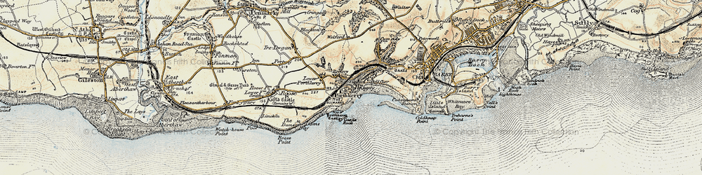 Old map of Porthkerry in 1899-1900