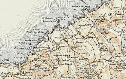 Old map of Gurnard's Head in 1900