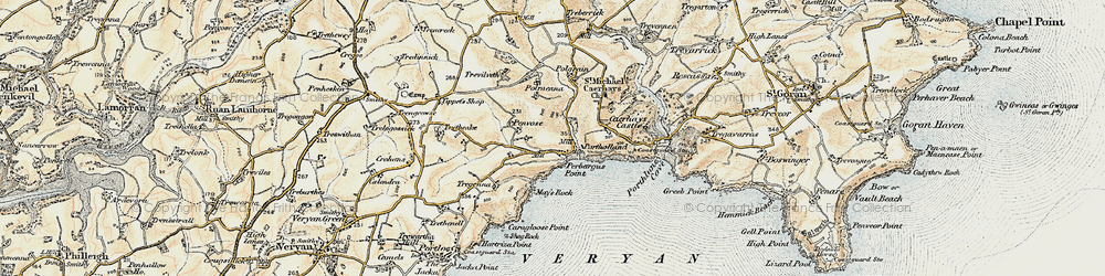 Old map of Portholland in 1900