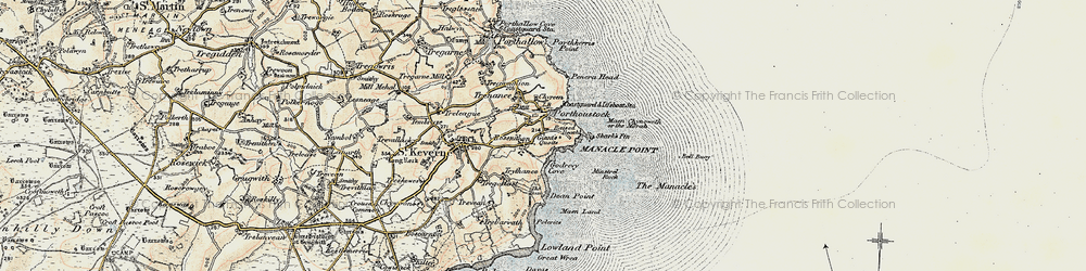 Old map of Porthoustock in 1900
