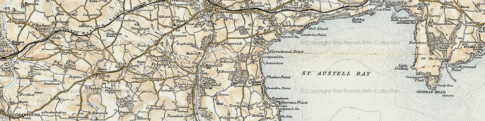 Old map of Porthpean in 1900