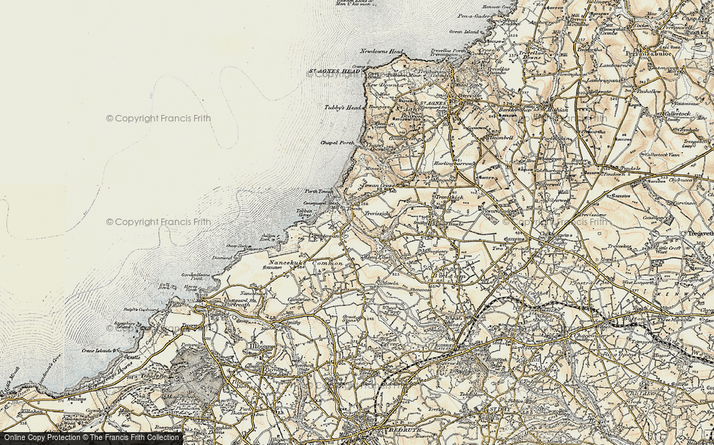 Old Map of Porthtowan, 1900 in 1900