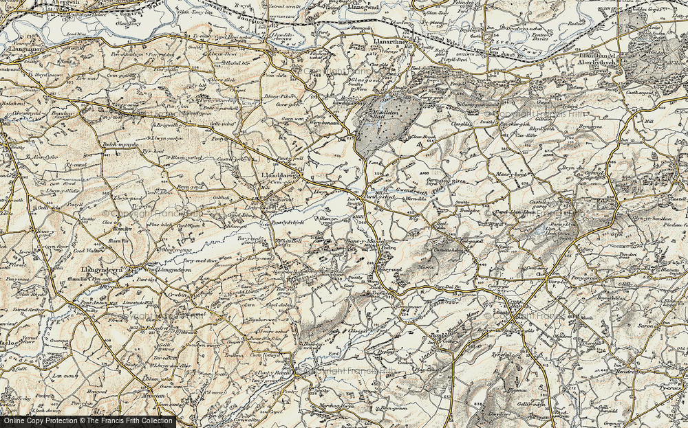 Old Map of Historic Map covering Lanfawr in 1900-1901