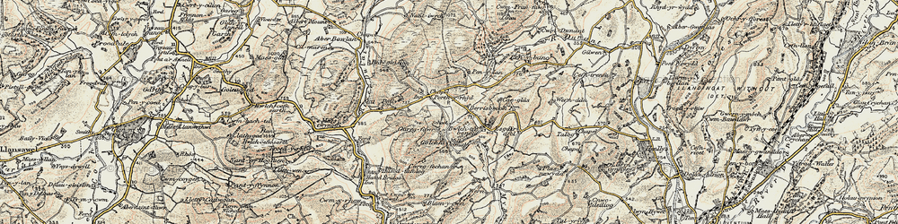 Old map of Aberbowlan in 1900-1902