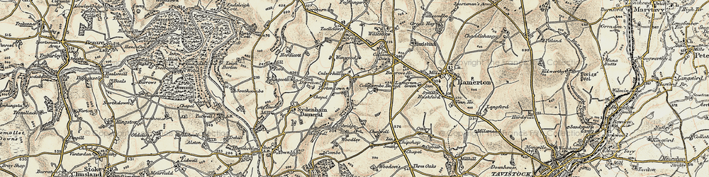 Old map of Wonwood in 1899-1900
