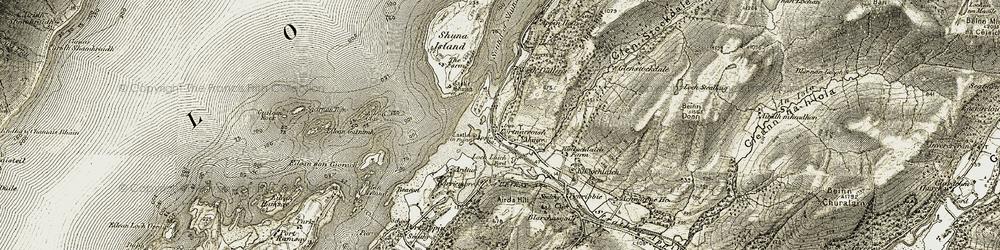 Old map of Shuna Island in 1906-1908