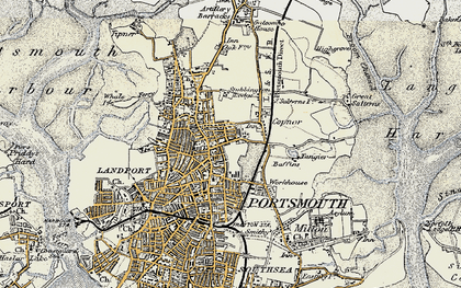 Old map of Portsmouth in 1897-1899