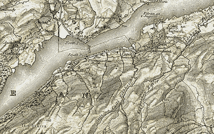 Old map of Allt na Cuile Riabhaiche in 1906-1907