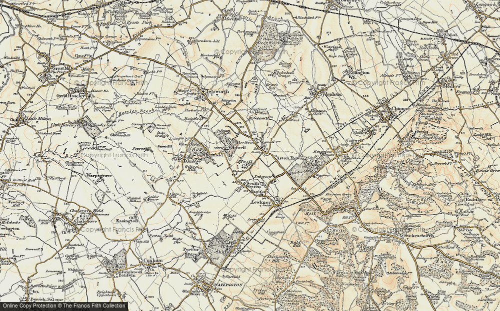 Old Map of Historic Map covering Adwell Cop (Mound) in 1897-1898