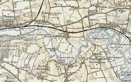 Old map of Whitlingham Marsh in 1901-1902