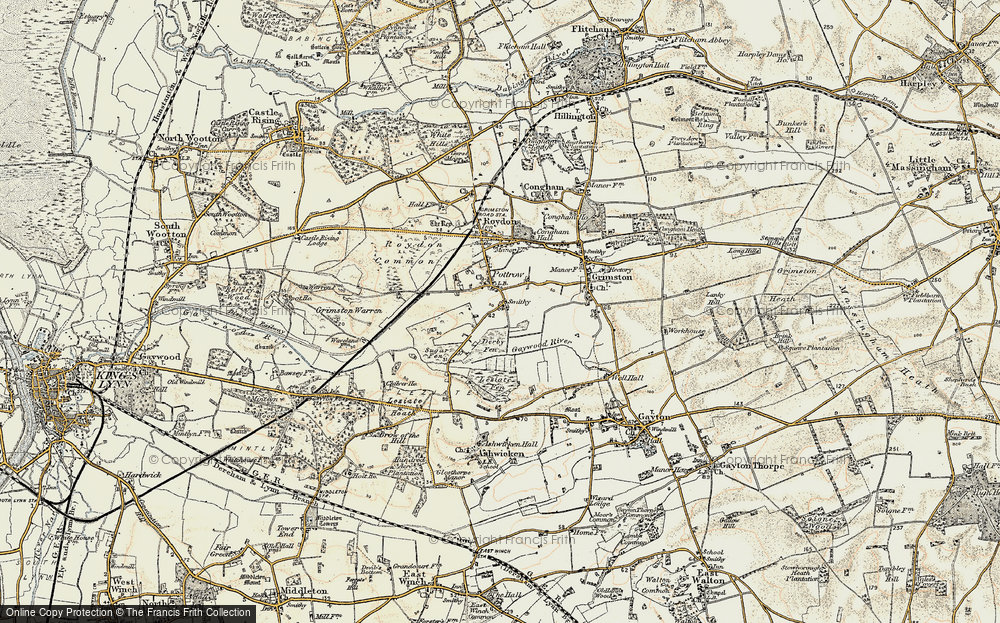 Old Map of Historic Map covering Leziate Fen in 1901