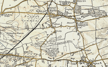 Old map of Leziate Fen in 1901