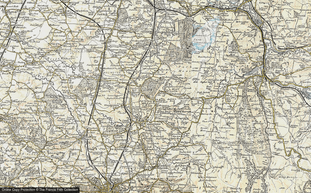 Old Map of Historic Map covering Bakestonedale Moor in 1902-1903