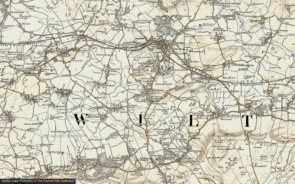 Old Map of Potterne, 1898-1899 in 1898-1899