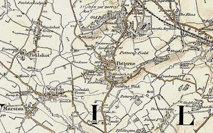 Old map of Potterne in 1898-1899