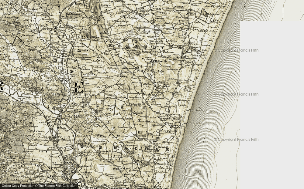 Old Map of Historic Map covering Backhill of Cranbog in 1909-1910