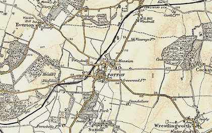 Old map of Potton in 1898-1901