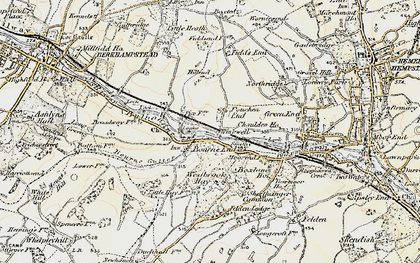 Old map of Pouchen End in 1898