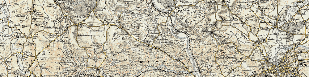 Old map of Withybed Wood in 1901-1902