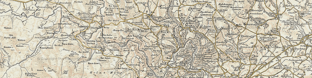 Old map of Aish Tor in 1899